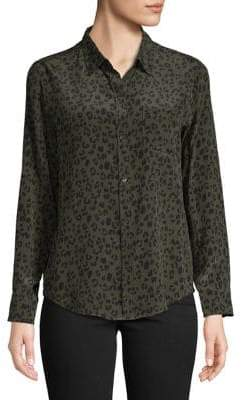 Rails Leopard-Print Silk Button-Down Shirt