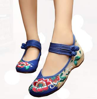 a764a8a72f2 Soficy Chinese Embroidered Floral Shoes Women Ballerina Mary Jane Flat  Ballet Cotton Loafer(