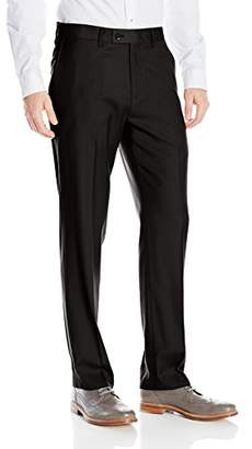 Louis Raphael Rosso Men's Flat Front Washable Stretch Wool Blend Dress Pant with Comfort Waistband