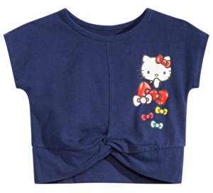 eb912c5fe Hello Kitty Little Girls Bow-Print Twist-Hem Cropped T-Shirt