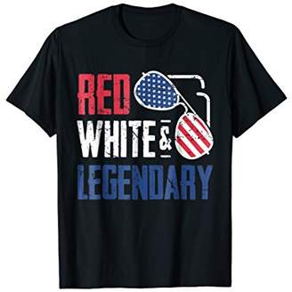 Red White Legendary American Sunglasses 4th of July Shirt