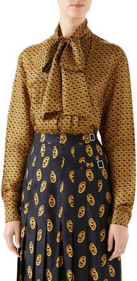 Gucci GG Silk Twill Bow Blouse