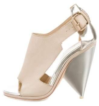 Balenciaga Leather Cutout Sandals