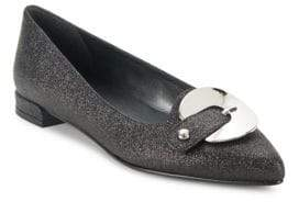 Stuart Weitzman Point-Toe Leather Ballet Flats