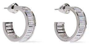 Noir Silver-tone Crystal Hoop Earrings