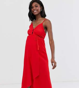 Asos DESIGN Maternity midi wrap sundress with tassel belt