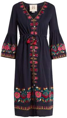 Figue Junie Floral Embroidered Dress - Womens - Navy Multi