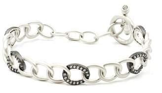Freida Rothman Two-Tone Rhodium Plated Sterling Silver Pave CZ Hard Link Bracelet