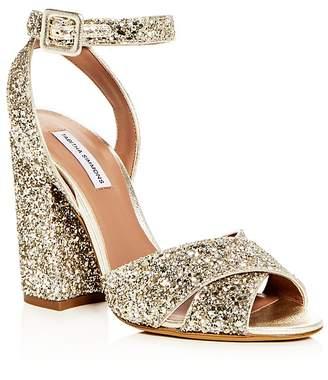 Tabitha Simmons Women's Connie Glitter Ankle Strap High Block Heel Sandals