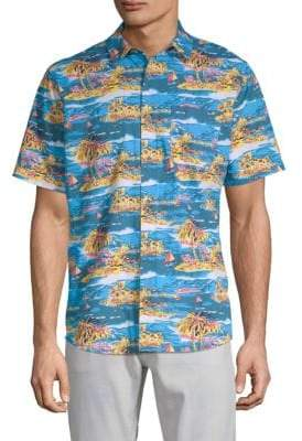 Tropical Short-Sleeve Button-Down Shirt