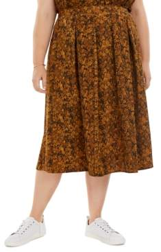 Bar III Plus Size Snake-Print Pleated A-Line Midi Skirt, Created for Macy's