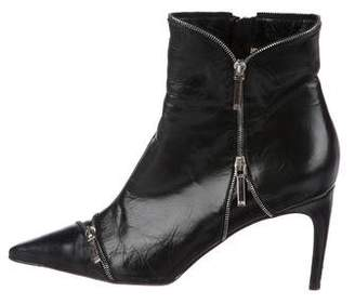 Christian Dior Leather Pointed-Toe Ankle Boots