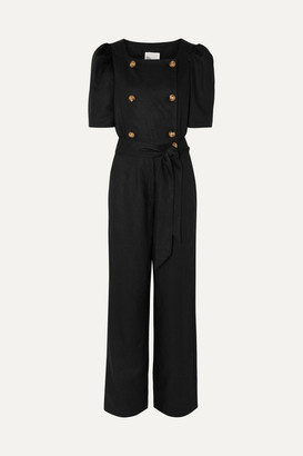 Lisa Marie Fernandez Diana Belted Double-breasted Linen Jumpsuit - Black