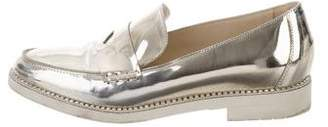 Oscar de la Renta Patent Leather Round-Toe Loafers