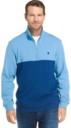 Izod Big & Tall Advantage Sportflex Colorblock Quarter-Zip Fleece Pullover
