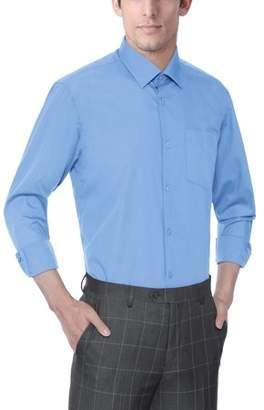 Verno Men's Classic Fashion Fit Long Sleeve Light Blue Dress Shirt