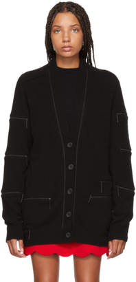 Christopher Kane Black Cashmere Zipper Cardigan