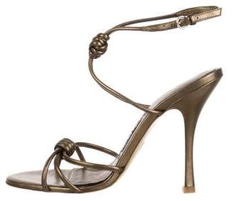Tom Ford Metallic Knot-Accented Sandals