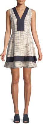 Derek Lam 10 Crosby Tiered V-Neck Mini Dress w/ Denim Contrast