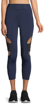 Cushnie et Ochs Cropped High-Rise Cutout Side-Stripe Leggings
