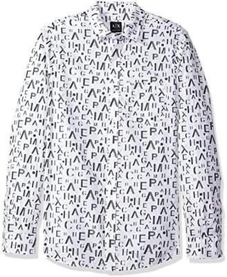 Armani Exchange A|X Men's Logo Pronted Ls Button Up