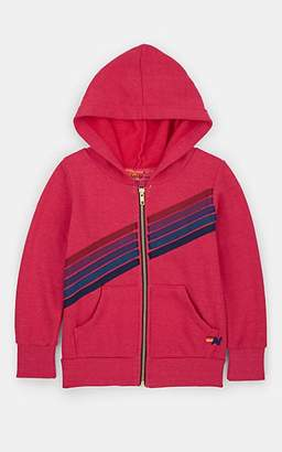 Aviator Nation Kids' Striped Cotton-Blend Fleece Hoodie - Pink