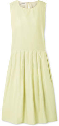 Mansur Gavriel Pleated Silk And Cotton-blend Midi Dress - Pastel yellow