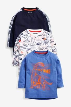 Next Boys Purple 3 Pack Long Sleeve Dino T-Shirts (3mths-7yrs) - Purple