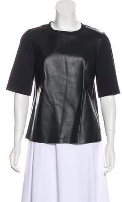 Akris Punto Leather Short Sleeve Top