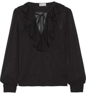 REDValentino - Ruffled Stretch-silk Chiffon Blouse - Black $440 thestylecure.com