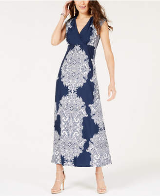 INC International Concepts I.n.c. Scroll-Print Surplice Maxi Dress, Created for Macy's