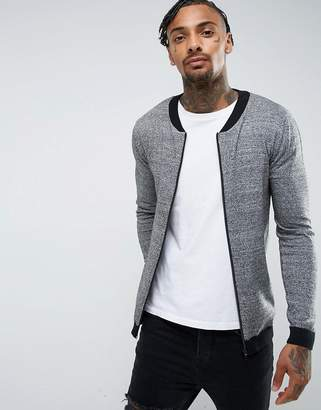 Asos Knitted Bomber With Contrast Trims In Gray Twist