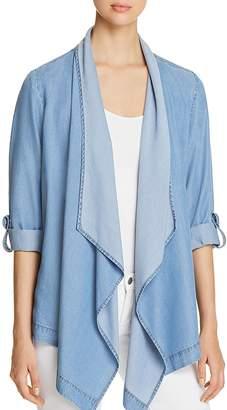 Donna Karan Chambray Drape-Front Jacket