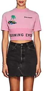 "Palm Angels Women's ""Ruining Everything Club"" Cotton Crop T-Shirt - Pink"