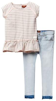 7 For All Mankind Ruffled Tee & Skinny Jean (Toddler Girls)