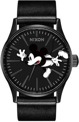 Nixon Men's Sentry Mickey Black Leather Strap Watch 42mm