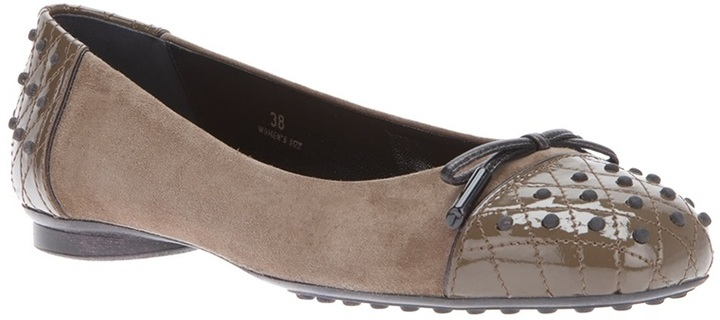 Tod's quilted toe cap ballerina