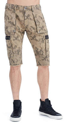 True Religion Touring Camouflage-Print Moto Shorts