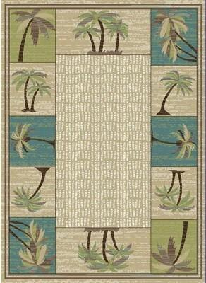Bayou Breeze Hayward Coastal Palm Tree Beige/Blue Area Rug Bayou Breeze