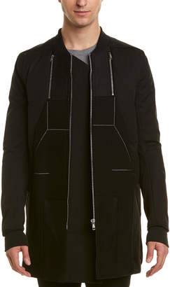 Rick Owens Mixed Media Wool-Blend Down Jacket