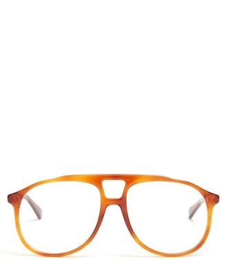 Gucci Aviator Acetate Glasses - Mens - Brown