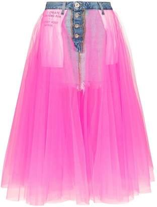 Unravel Project tulle detail denim skirt