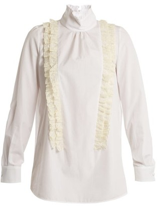 No.21 No. 21 - Ruffle Trimmed High Neck Cotton Poplin Blouse - Womens - White