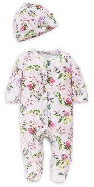 Offspring Baby Girl's Floral Footie and Hat