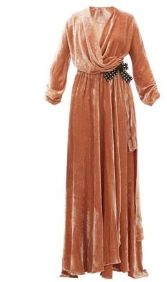 Maria Lucia Hohan Kamelia Grosgrain Bow Velvet Wrap Dress - Womens - Light Pink