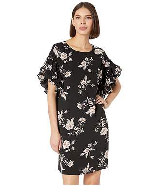 CeCe Pleated Sleeve Etched Floral Dress
