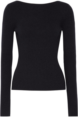 Elizabeth and James - Fay Tie-back Ribbed-knit Sweater - Midnight blue $295 thestylecure.com