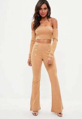 Missguided Camel Brown Military Button Flared Trousers