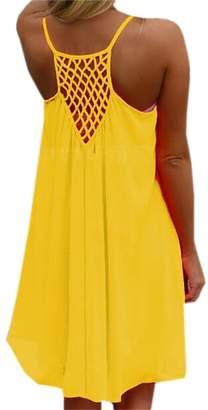 BYWX-Women Summer Casual Chiffon Sundress Sleeveless Tank Beach Dress US XL