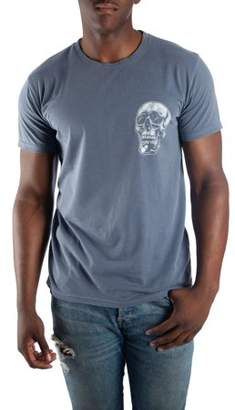 License Men's Vintage Charcoal Propel Racing Skull with Distressed Front and Back Print